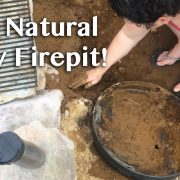 DIY Natural Clay Firepit title overlay with Christina working with mud and stones