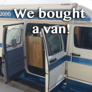 "Classic 2000 Great West Van camper with the words ""We bought a van!"""